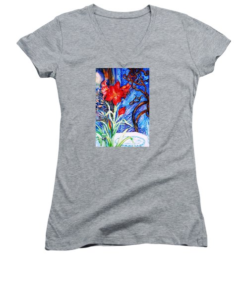 Red Amaryllis  Women's V-Neck T-Shirt (Junior Cut) by Trudi Doyle