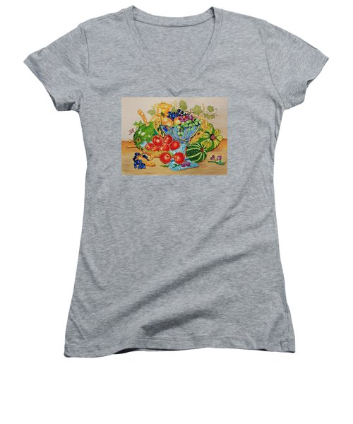 Women's V-Neck T-Shirt (Junior Cut) featuring the painting  Red Apples And  Grapes Oil Painting by Johanna Bruwer
