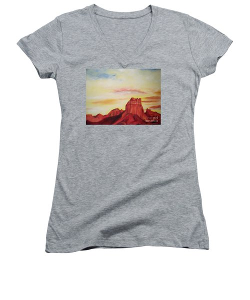 Women's V-Neck T-Shirt (Junior Cut) featuring the painting  Sedona Az by Eric  Schiabor