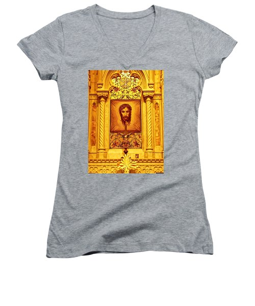 Women's V-Neck T-Shirt (Junior Cut) featuring the photograph  St. Patrick Nyc  Altar by Joan Reese