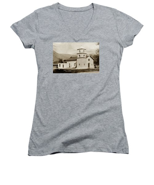 Women's V-Neck T-Shirt (Junior Cut) featuring the photograph  St. Thomas Aquinas Catholic Church  Ojai Cal 1920 by California Views Mr Pat Hathaway Archives