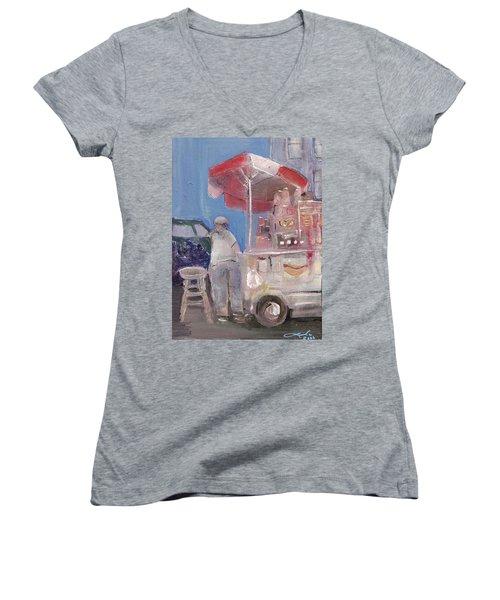 Stand On The Corner Women's V-Neck T-Shirt (Junior Cut) by Leela Payne