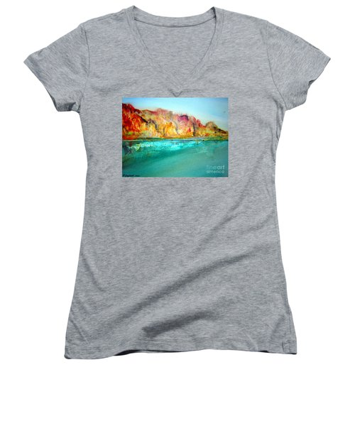 Women's V-Neck T-Shirt (Junior Cut) featuring the drawing  The Kimberly Australia Nt by Roberto Gagliardi
