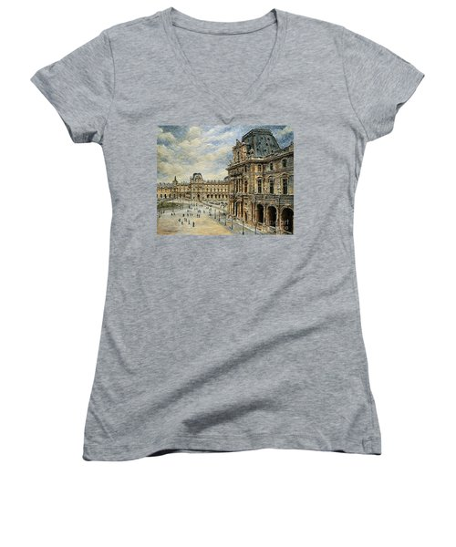 The Louvre Museum Women's V-Neck T-Shirt (Junior Cut) by Joey Agbayani