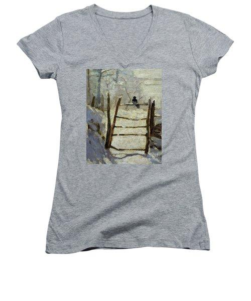 The Magpie Women's V-Neck T-Shirt (Junior Cut) by Claude Monet