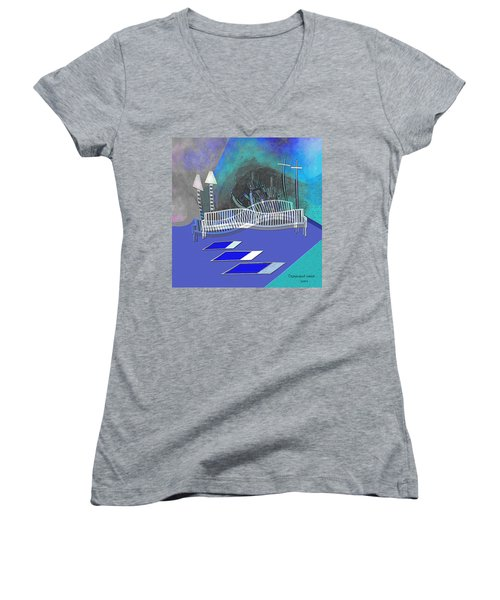 112 This Earthquake Feeling   Women's V-Neck T-Shirt (Junior Cut) by Irmgard Schoendorf Welch