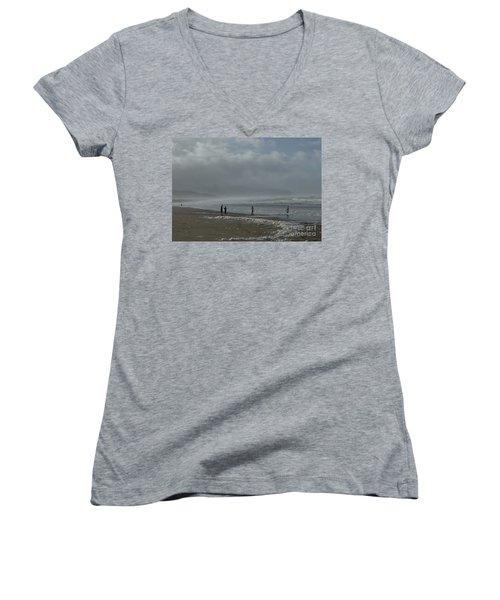 Wave Handstand  Women's V-Neck T-Shirt (Junior Cut) by Susan Garren