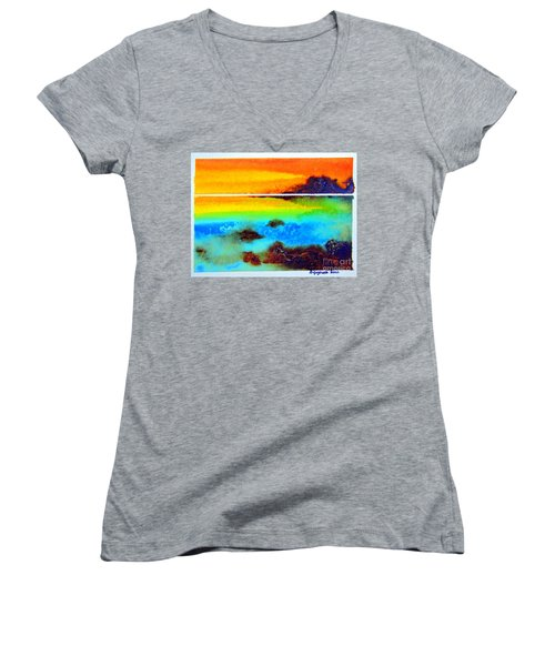 Women's V-Neck T-Shirt (Junior Cut) featuring the painting  Western Australia Ocean Sunset by Roberto Gagliardi