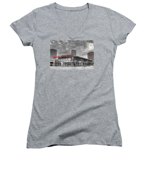 0038 Milwaukee Public Market Women's V-Neck T-Shirt (Junior Cut) by Steve Sturgill