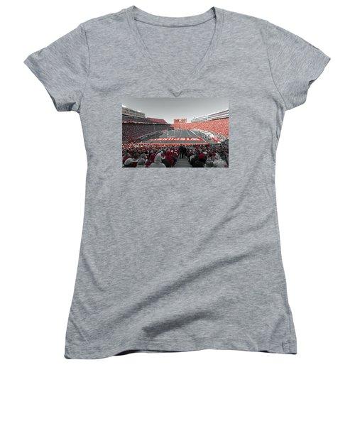 0096 Badger Football Women's V-Neck