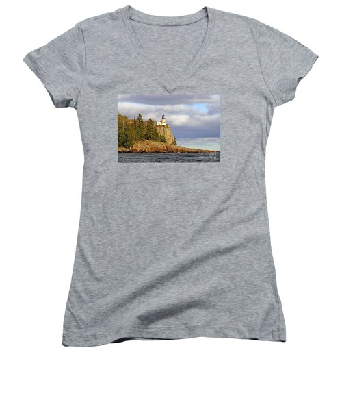 0376 Split Rock Lighthouse Women's V-Neck T-Shirt (Junior Cut) by Steve Sturgill