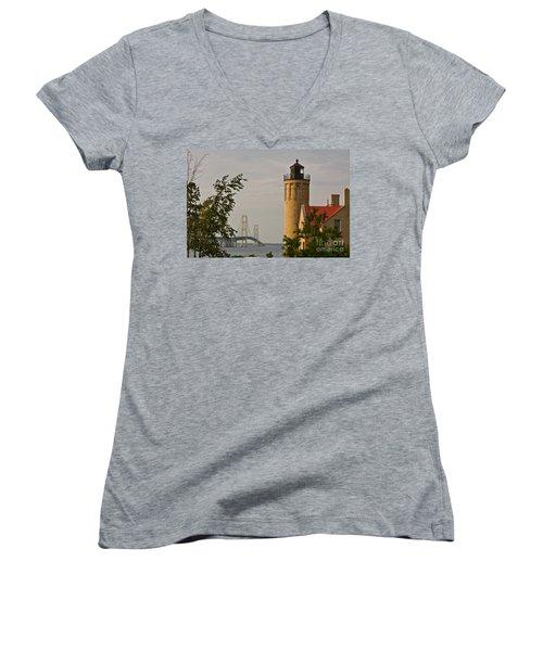 0558 Old Mackinac Point Lighthouse Women's V-Neck