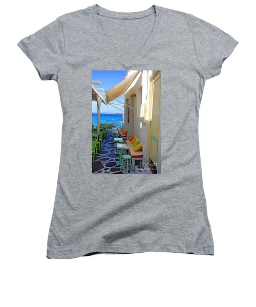 0560 Mykonos Greece Women's V-Neck T-Shirt (Junior Cut) by Steve Sturgill