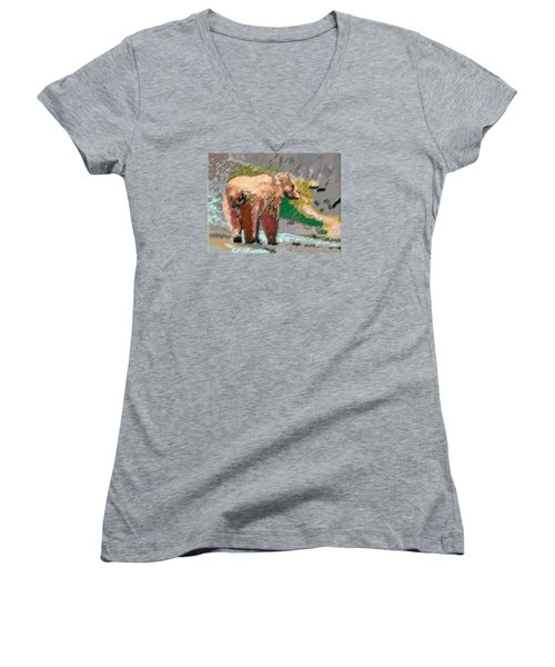 081914 Pastel Painting Grizzly Bear Women's V-Neck T-Shirt (Junior Cut) by Garland Oldham