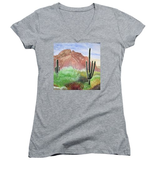 2 Saguaros Women's V-Neck T-Shirt