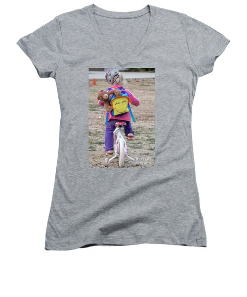 A Child's Adventure Women's V-Neck T-Shirt (Junior Cut) by Suzanne Oesterling