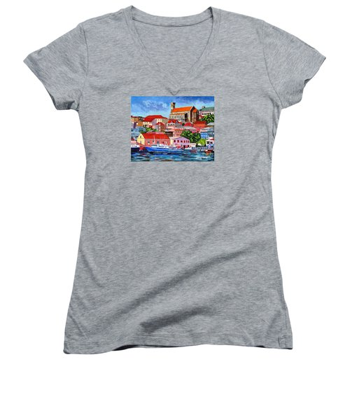 A View Of The Carenage Women's V-Neck T-Shirt (Junior Cut) by Laura Forde
