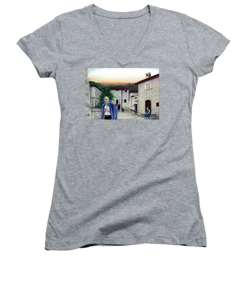 Women's V-Neck T-Shirt (Junior Cut) featuring the painting A Walk With Dante by Albert Puskaric