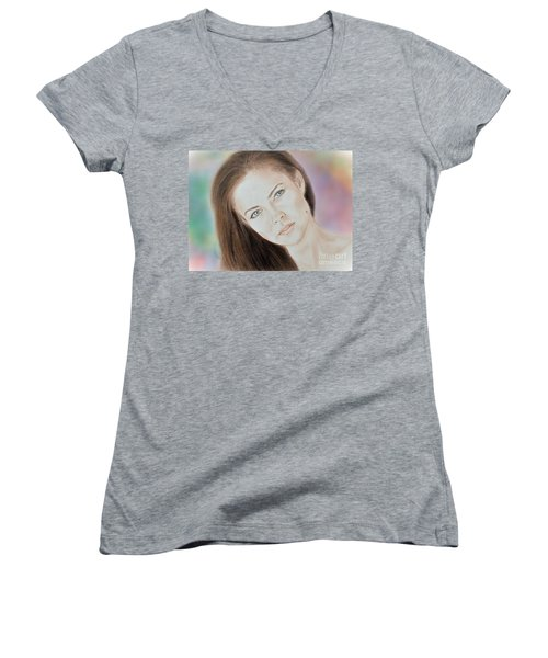 Actress And Model Susan Ward Blue Eyed Beauty With A Mole Women's V-Neck T-Shirt (Junior Cut) by Jim Fitzpatrick