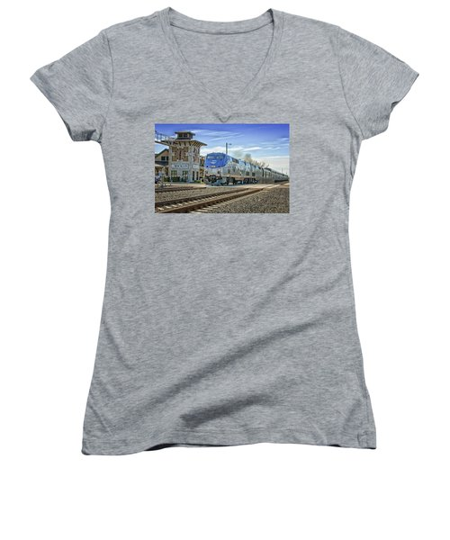 Women's V-Neck featuring the photograph Amtrak 112 by Jim Thompson