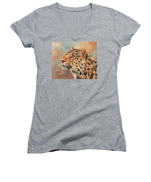 Amur Leopard Women's V-Neck