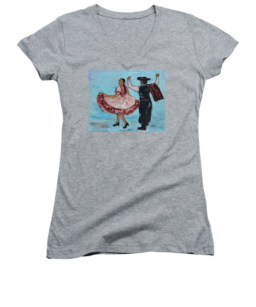 Argentinian Folk Dance Women's V-Neck T-Shirt (Junior Cut) by Xueling Zou
