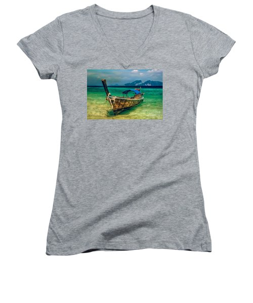 Asian Longboat Women's V-Neck T-Shirt (Junior Cut) by Adrian Evans