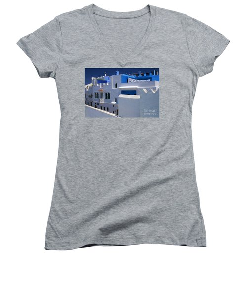 Women's V-Neck T-Shirt (Junior Cut) featuring the photograph Asilah Meaning Authentic In Arabic Fortified Town On Northwest Tip Of Atlantic Coast Of Morocco by Ralph A  Ledergerber-Photography