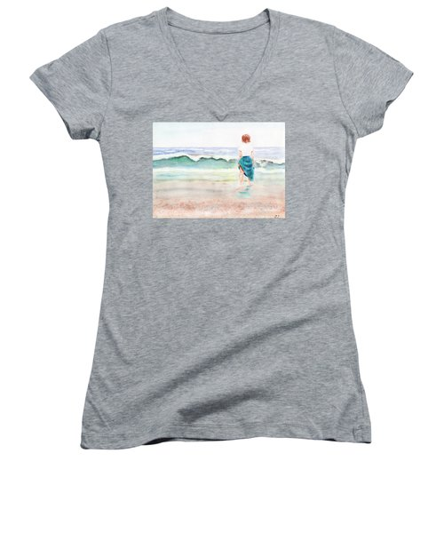 At The Beach Women's V-Neck T-Shirt (Junior Cut) by C Sitton