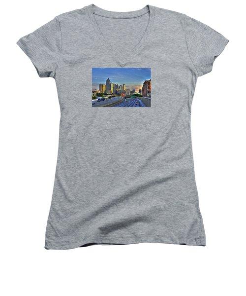 Atlanta Sunset Reflections Women's V-Neck T-Shirt (Junior Cut) by Reid Callaway
