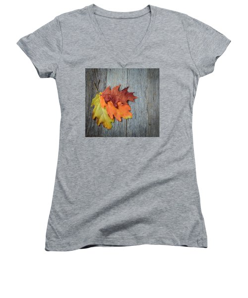 Autumn Leaves On Rustic Wooden Background Women's V-Neck (Athletic Fit)
