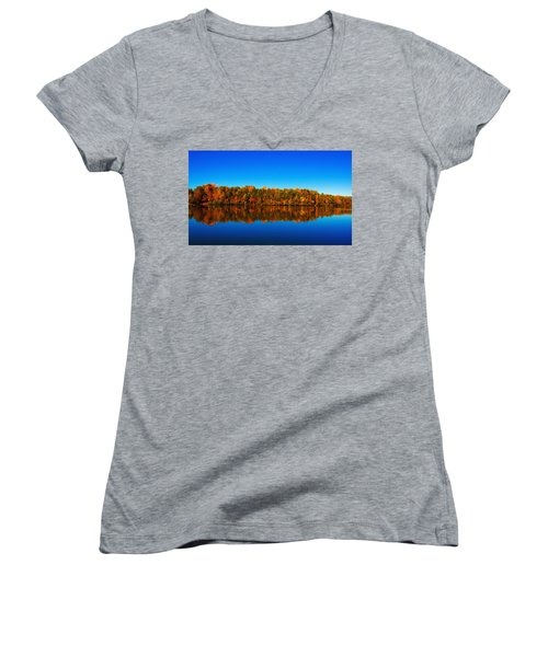 Women's V-Neck T-Shirt (Junior Cut) featuring the photograph Autumn Reflections by Andy Lawless