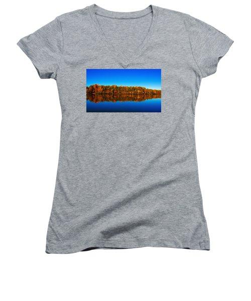 Autumn Reflections Women's V-Neck T-Shirt (Junior Cut)