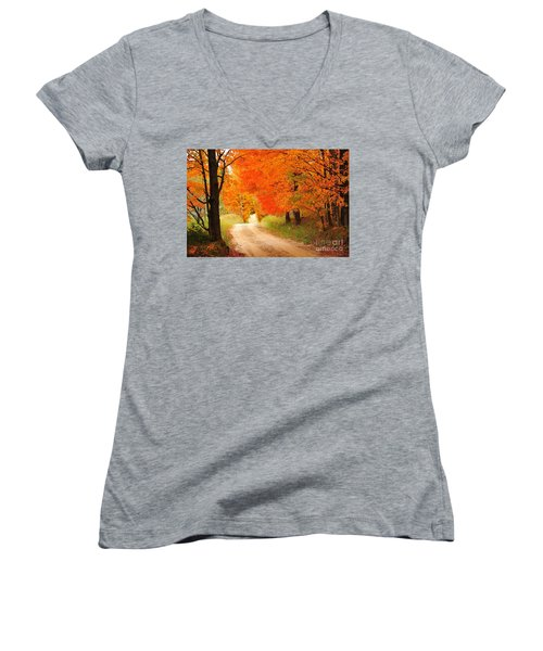 Women's V-Neck T-Shirt (Junior Cut) featuring the photograph Autumn Trail by Terri Gostola
