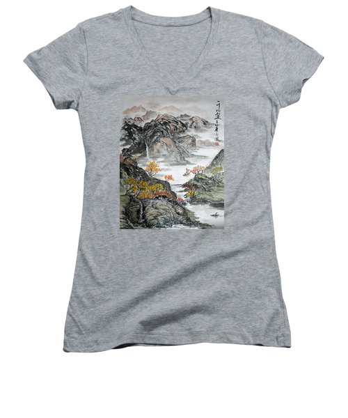 Women's V-Neck T-Shirt (Junior Cut) featuring the painting Autumn  by Yufeng Wang