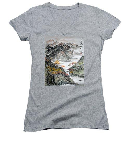 Autumn  Women's V-Neck T-Shirt (Junior Cut) by Yufeng Wang