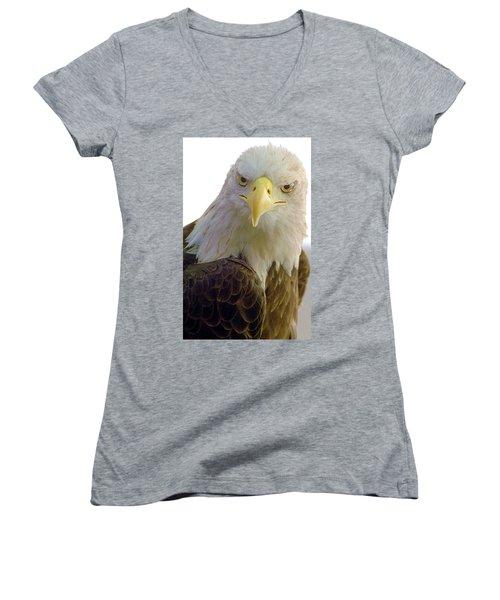 Bald Eagle Women's V-Neck T-Shirt (Junior Cut) by Steve Archbold