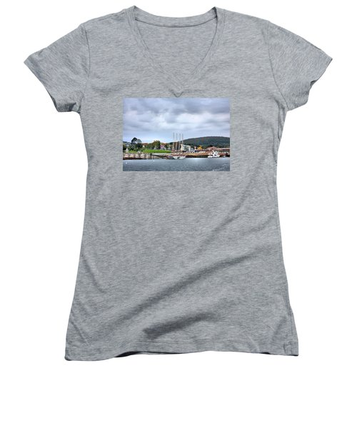 Bar Harbor Maine Women's V-Neck T-Shirt (Junior Cut) by Kristin Elmquist