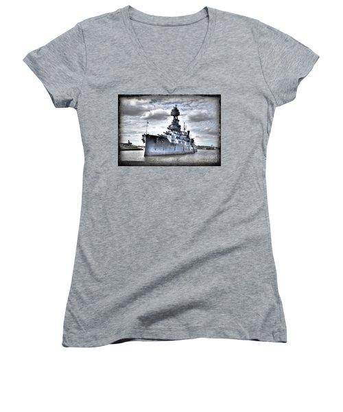 Battleship Texas Women's V-Neck T-Shirt (Junior Cut) by Savannah Gibbs