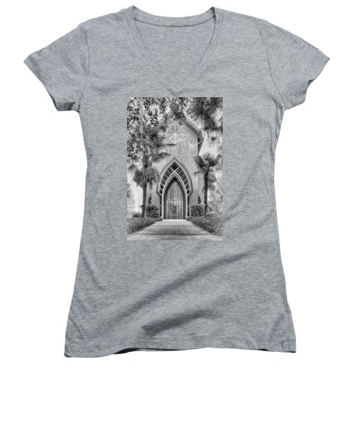 Women's V-Neck featuring the photograph Baughman Meditation Center  by Howard Salmon