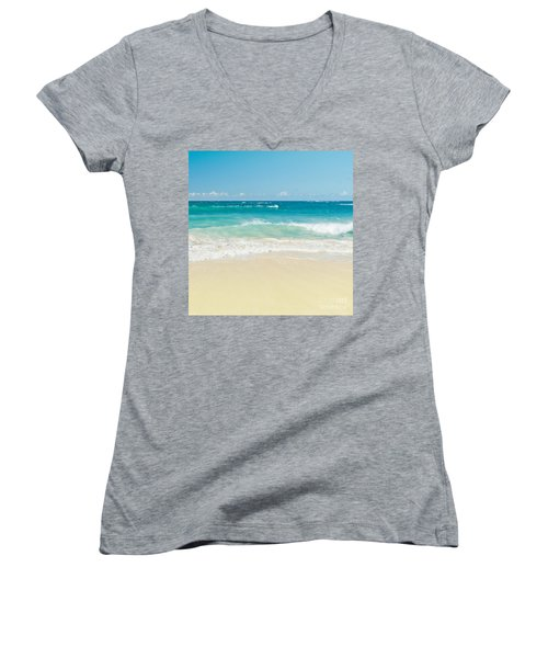 Women's V-Neck T-Shirt featuring the photograph Beach Love by Sharon Mau