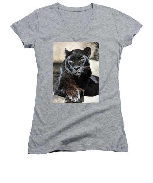 Black Leopard Women's V-Neck (Athletic Fit)
