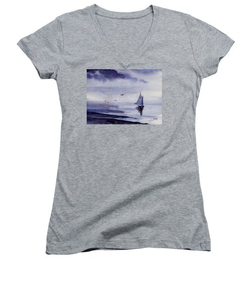 Boat Women's V-Neck T-Shirt (Junior Cut) by Sam Sidders