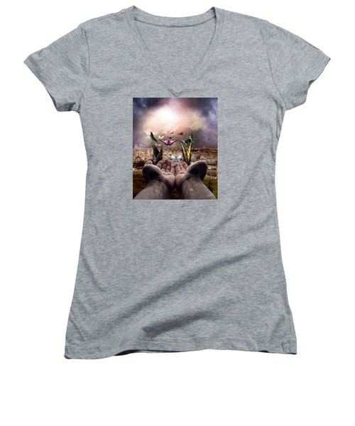 Born Again Israel Women's V-Neck T-Shirt (Junior Cut) by Bill Stephens