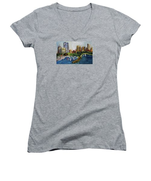 Women's V-Neck T-Shirt (Junior Cut) featuring the painting Boston Skyline by Michael Helfen