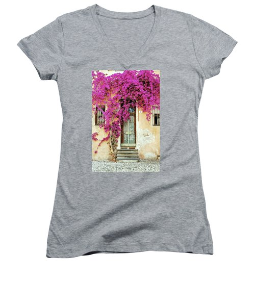 Bougainvillea Doorway Women's V-Neck T-Shirt (Junior Cut)