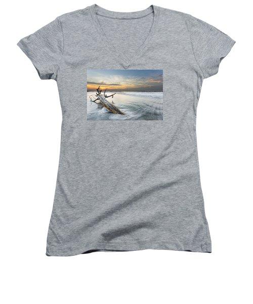 Bough In Ocean Women's V-Neck T-Shirt (Junior Cut) by Peter Lakomy
