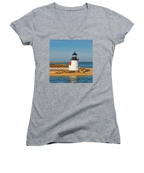 Brant Point Lighthouse Nantucket Women's V-Neck (Athletic Fit)