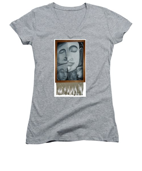 Buddish Facial Reactions Women's V-Neck T-Shirt