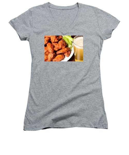 Buffalo Wings With Celery Sticks And Beer Women's V-Neck T-Shirt